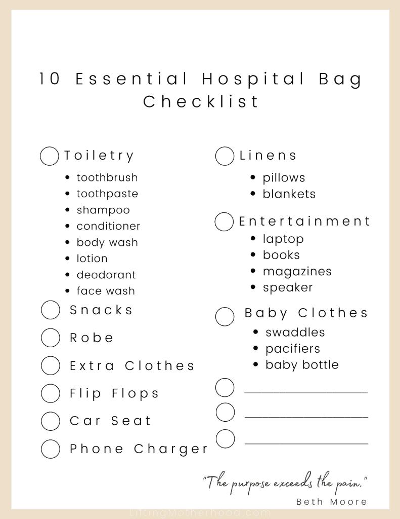 hospital bag checklist mom and baby